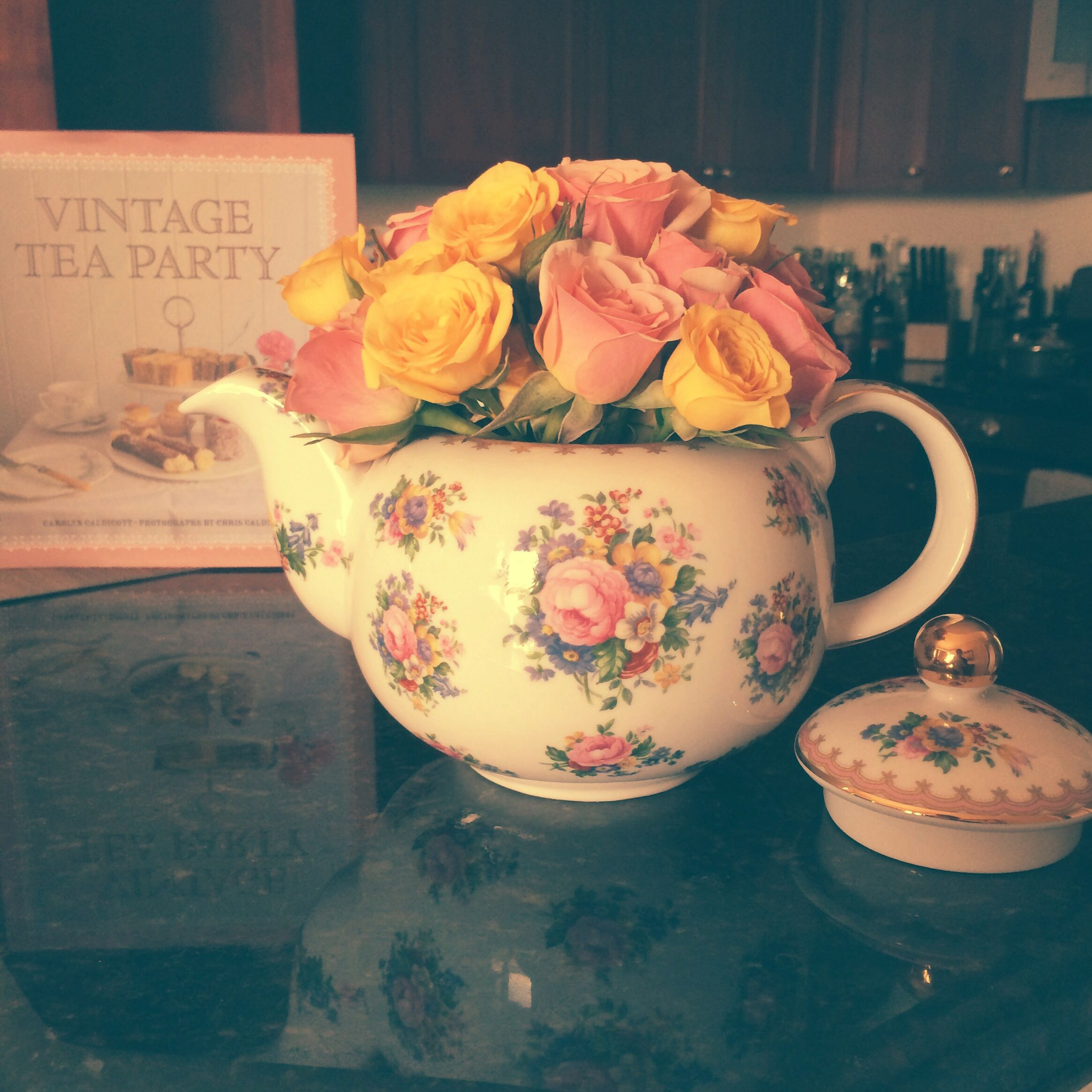 1944 Royal Albert Lady Carlyle tea pot and miniature roses.