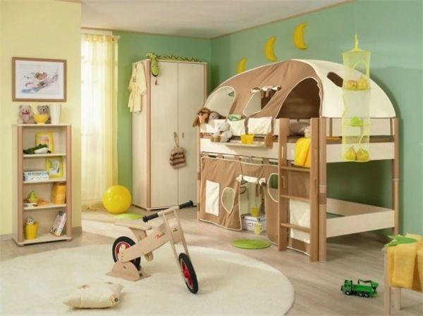 kinderbetten designs ein zelt grasgrüne wände und zitronengelbe