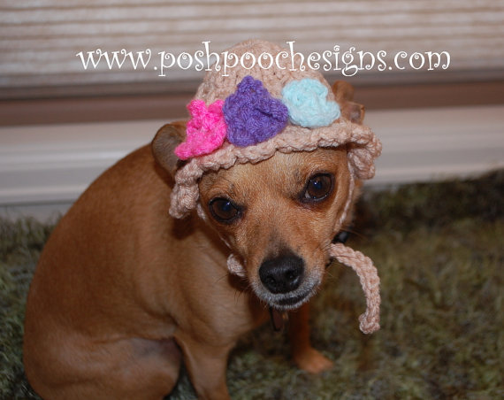 b584a4f8776 Spring Flowers Dog Hat Dog Beanie for Small Dogs Custom made by  poshpoochdesigns