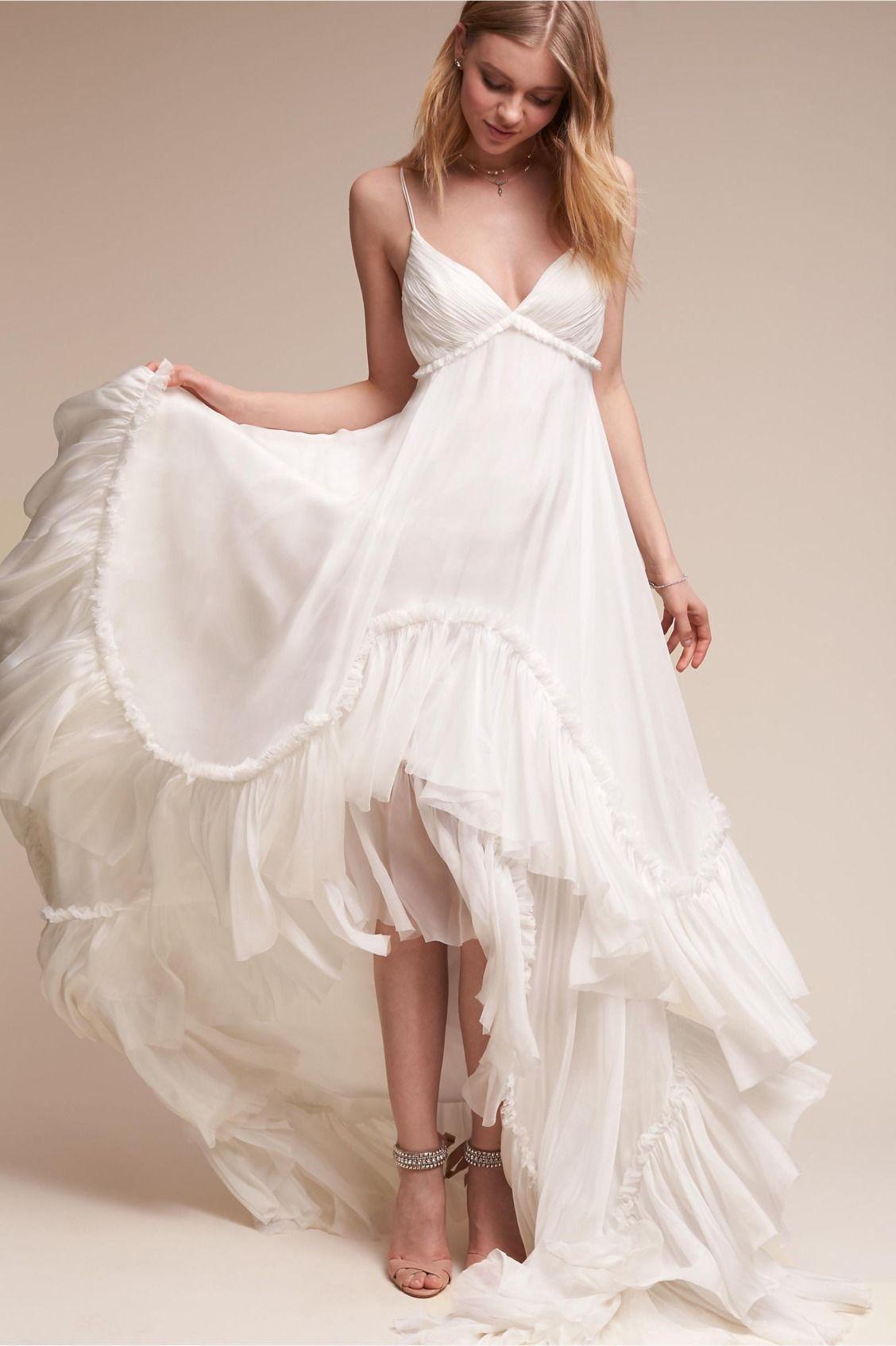 Airy Silk Chiffon Soie Gown From Bhldn Casual Wedding Dress Romantic Bohemian Wedding Dresses Beach Wedding Dress