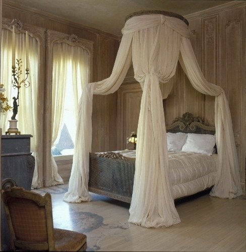 This is a beautiful, romantic bedroom in a dreamy antique French