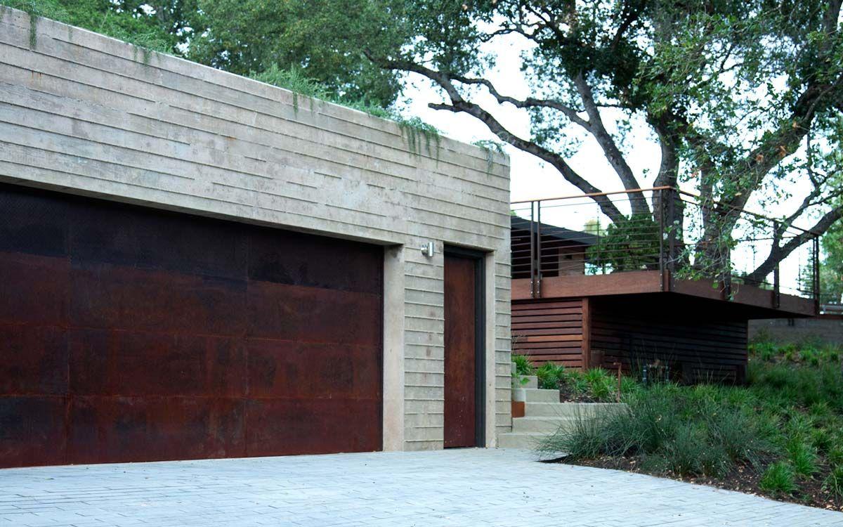 Corten Steel Garage Door And Front