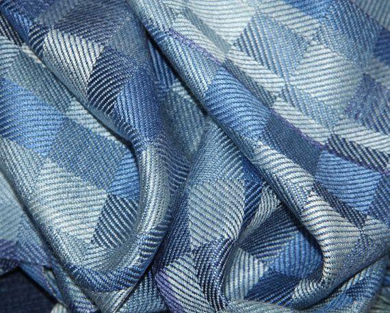 hand woven cashmere scarf   Indigo Design 2 Hand dyed hand woven Silk by weaverbirddesigns, $199 ...