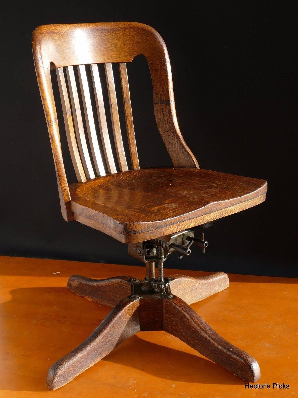 Antique Oak Office Desk Chair Tilts Rotates Swivels By Paine Furniture