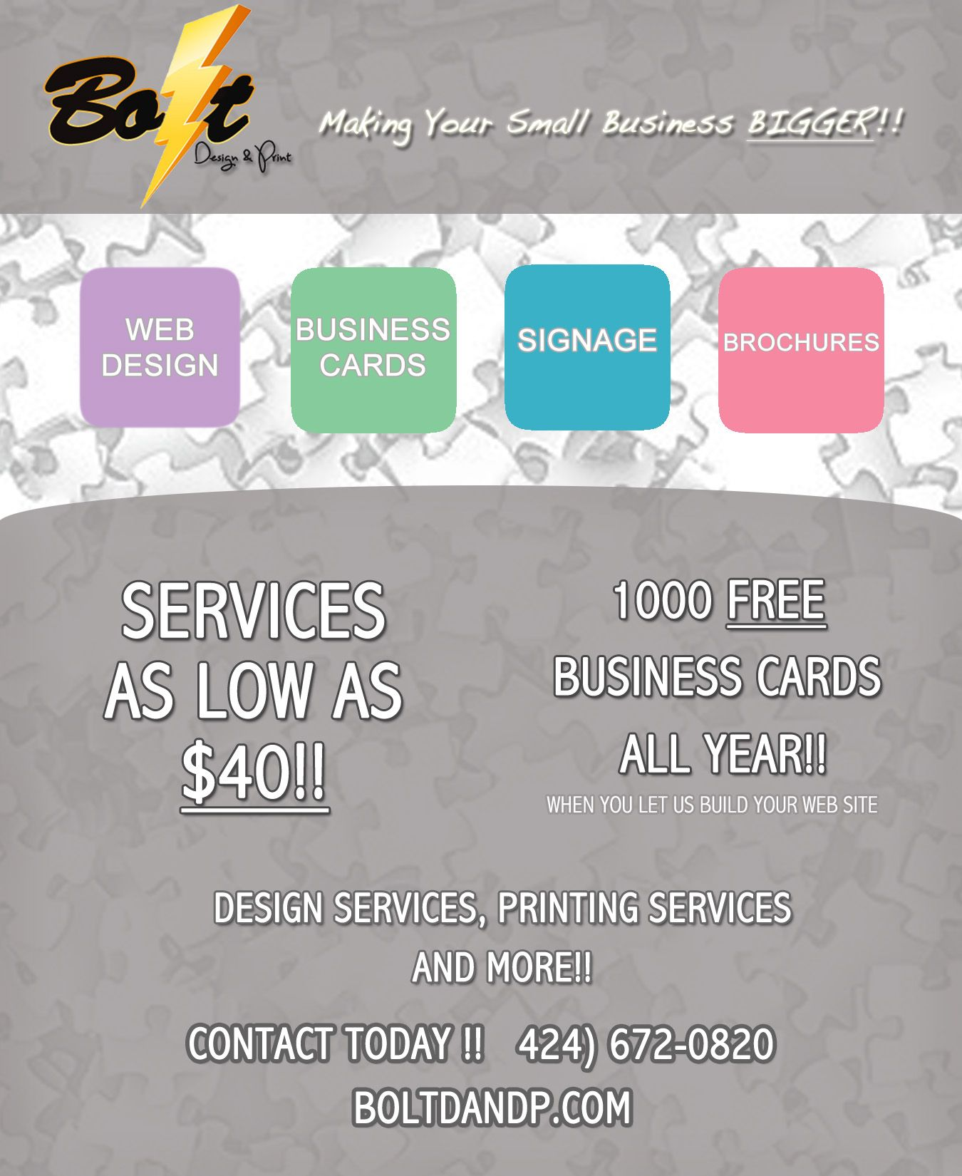 Here at Bolt Design and Print we offer guaranteed low prices and ...