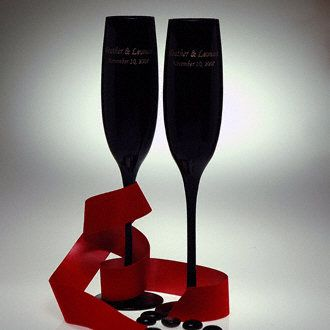 Black Champagne Glasses with gold etching.