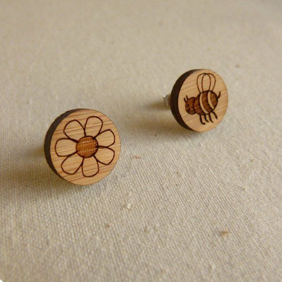 Cute Earrings Bee And Flower Stud Studs Made In Australia Everyday Gift For