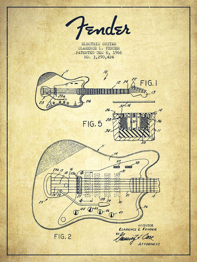 Fender Electric Guitar Patent Drawing From 1966 by Aged