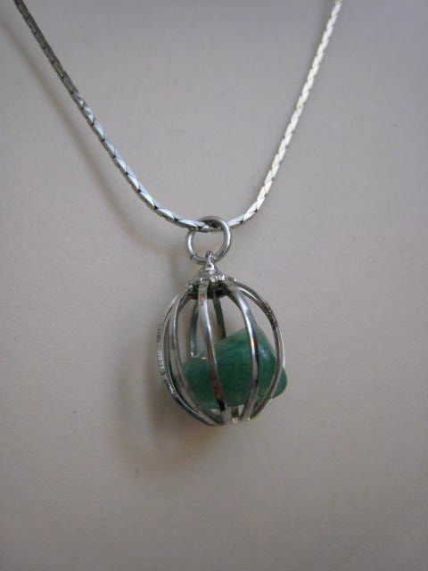 Vintage Silver 1960s Cage Pendant Charm Necklace by Glamaroni, $14.00
