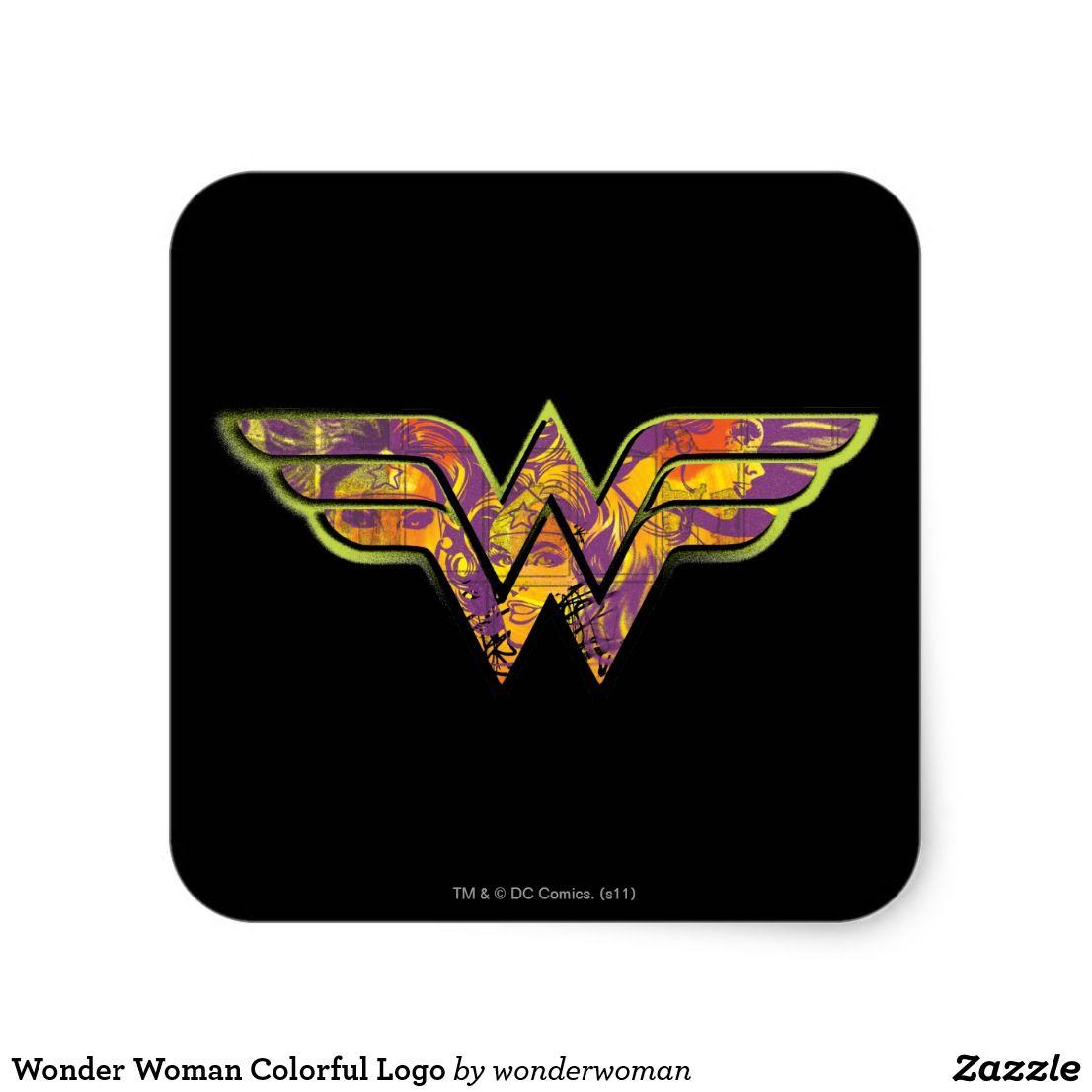 Wonder Woman Colorful Logo Square Sticker Zazzle Com Logo Color Custom Stickers Wonder Woman Design [ 1106 x 1106 Pixel ]
