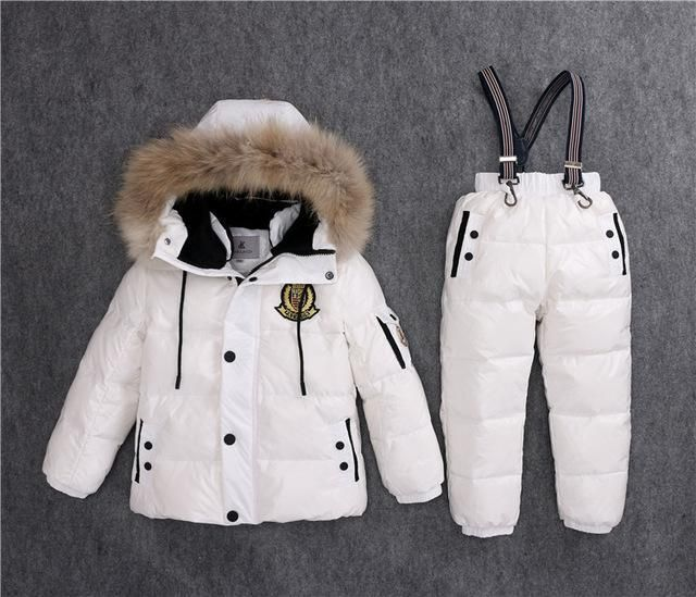 b86a5bb9c Kids Winter Real Fur Duck Down Jacket and Snowsuit 2 Piece Sets ...
