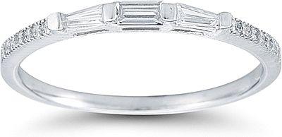 Petite Baguette and Pave Diamond Wedding Ring : This diamond wedding ...