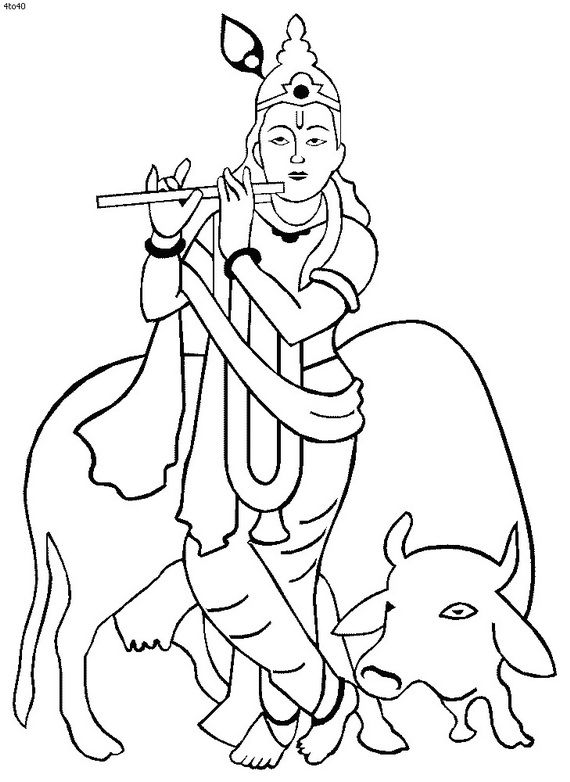 lord krishna coloring pages - shri krishna janmashtami coloring printable pages for kids