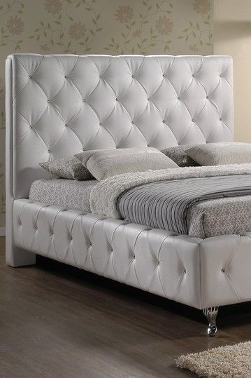 Stella Crystal Tufted Modern Bed with Upholstered Headboard - White ...