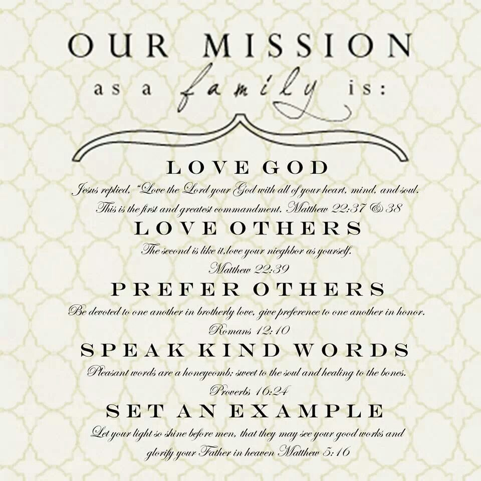 Great Family Mission Inspirational Words Pinterest Family