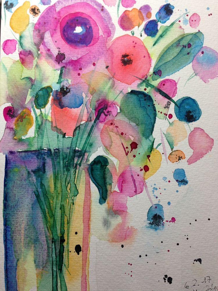 Aquarell Blumenstrauss Abstrakt Blumen 17 X 24 Cm