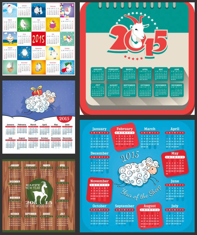 Collection Of 5 Vector Templates Of 2015 Calendars Decorated With