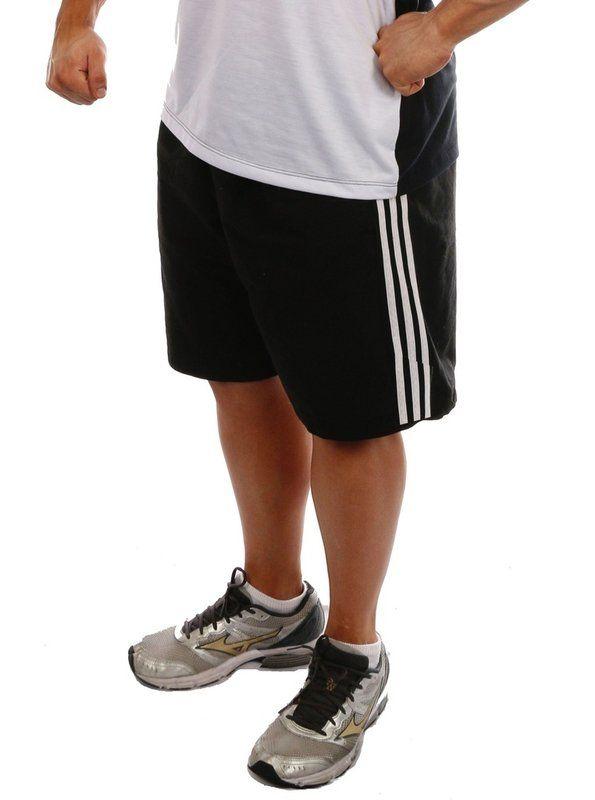 ff6b9d7ec Bermuda masculina de academia para treino de musculação com listras na  lateral