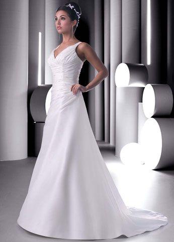 Simple wedding dress, v-neck