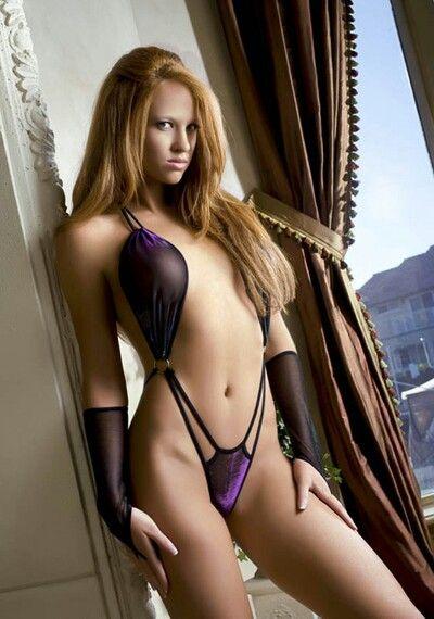 purple Sexy lingerie redhead