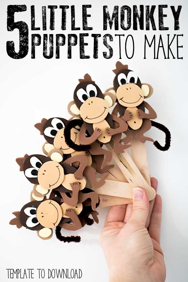 DIY 5 Little Monkey Puppets | Epic Preschool Ideas | Pinterest ...
