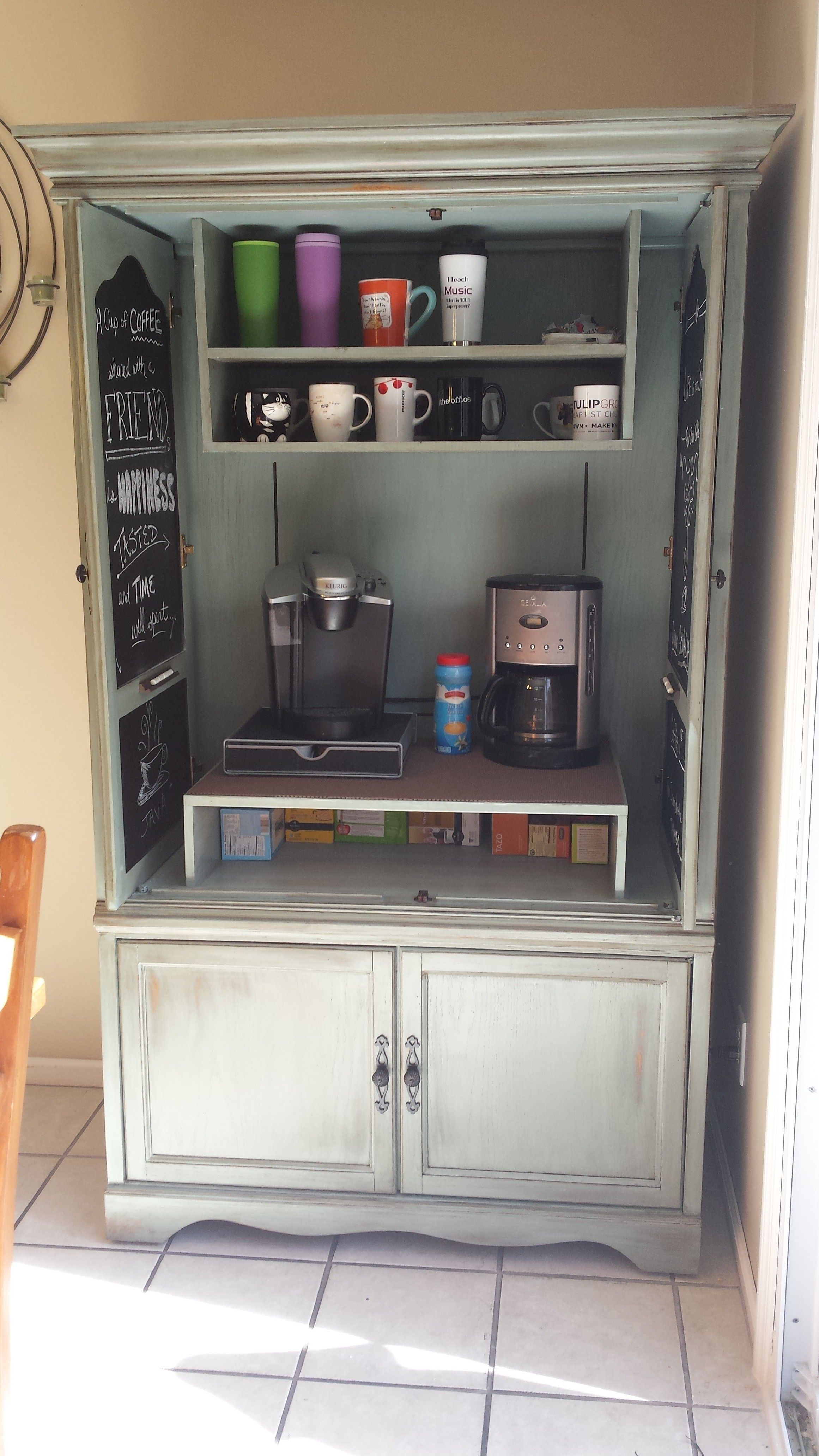 Inside Pic Of My Oak Armoire To Coffee Bar Hubby Made The Upper Shelves To Match The Bottom Doors Are Chalkboard Inside With Quotes About Coffee