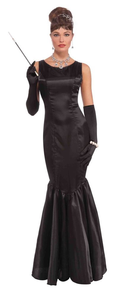 Womens Vintage Hollywood Star Gown Long Black Fancy Dress Starlet