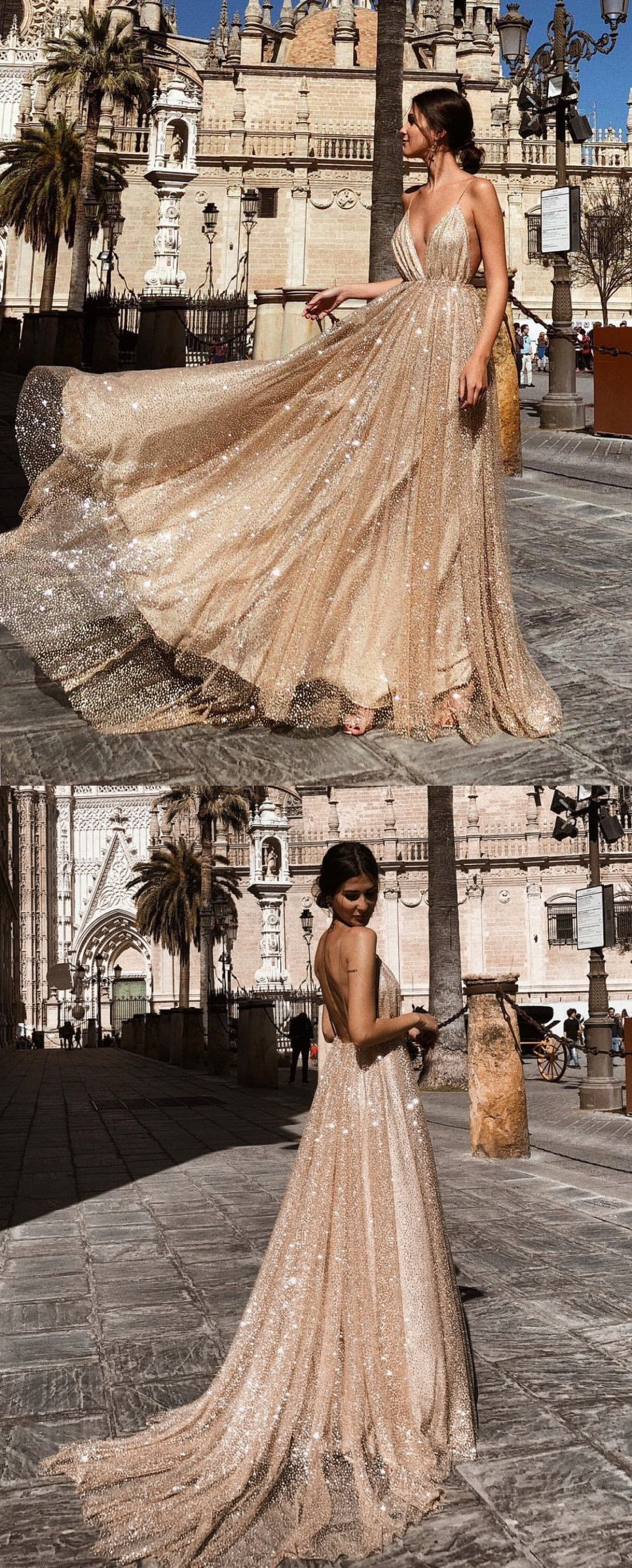 A Line V Neck Backless Champagne Long Sparkling Prom Dresses Champagne Prom Gown Formal Dresses Sparkly Prom Dresses Sparkle Prom Dress Straps Prom Dresses [ 2393 x 965 Pixel ]