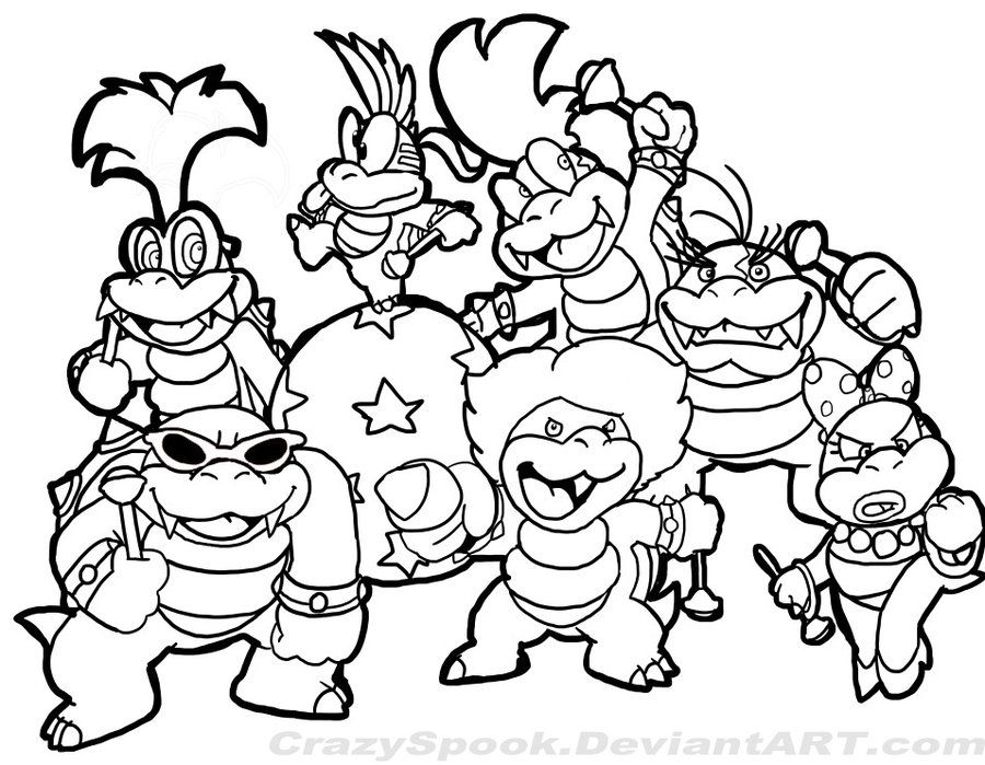 Super Mario Brothers Characters Coloring Page Super Mario