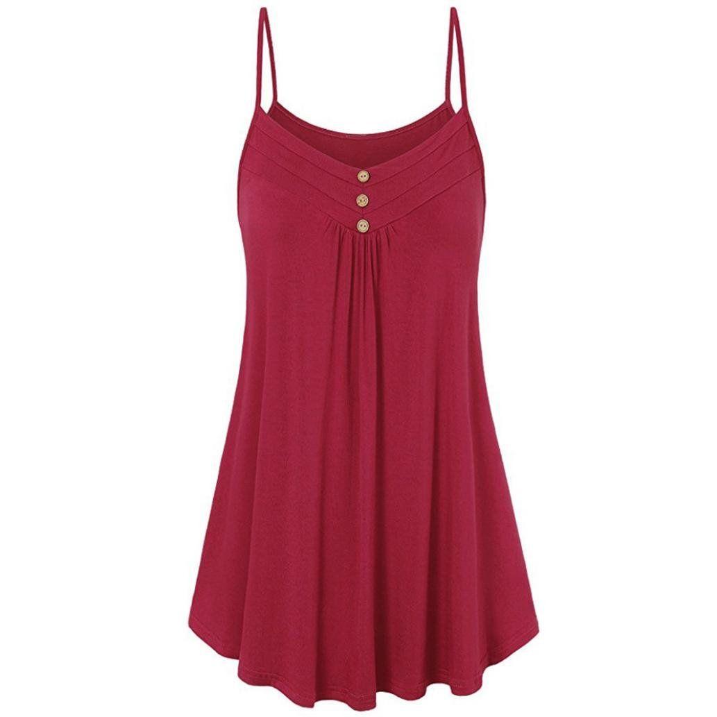 Tltl Fashion Women Summer Loose Button V Neck Cami Tank Tops Vest Blouse In 2020 Sleeveless Dress Summer Plus Size Tank Tops Tunic Tank Tops [ 1033 x 1033 Pixel ]