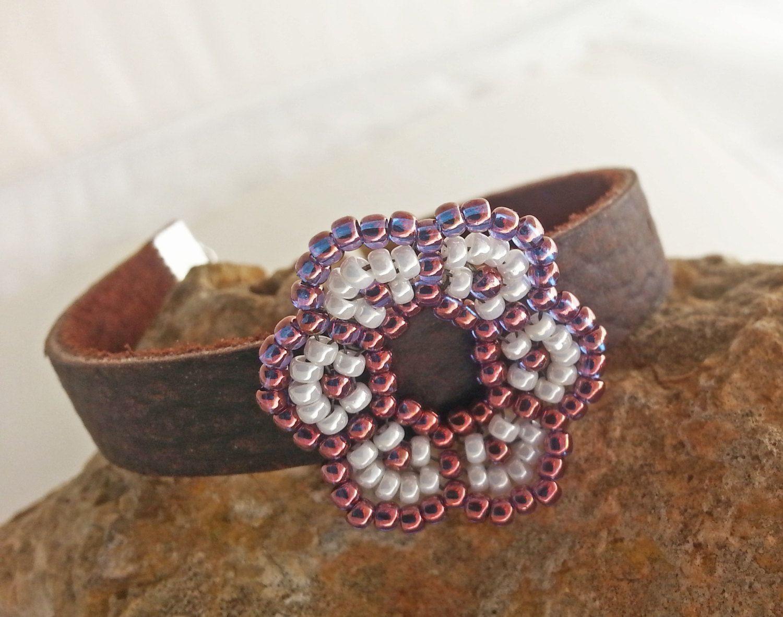 Flower bracelet brown bracelet leather bracelet owl charm brown and