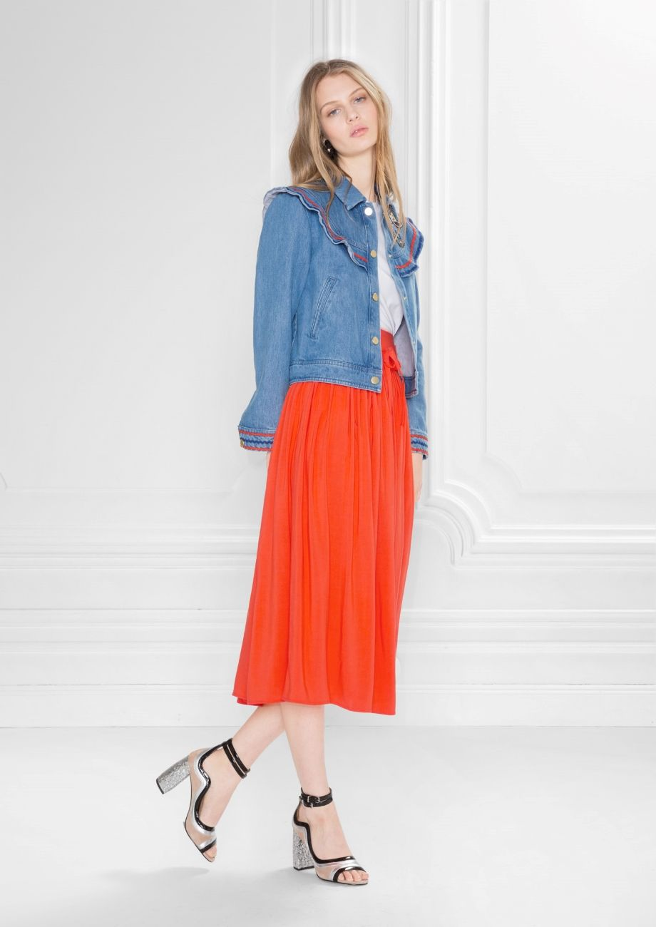 U other stories image of high waist pleated skirt in orange ss