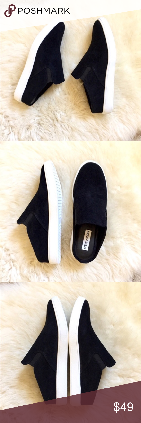 74c6cb0800a Steve Madden Black Suede Ezekiel Slip-On Sneakers New In Box- Steve ...