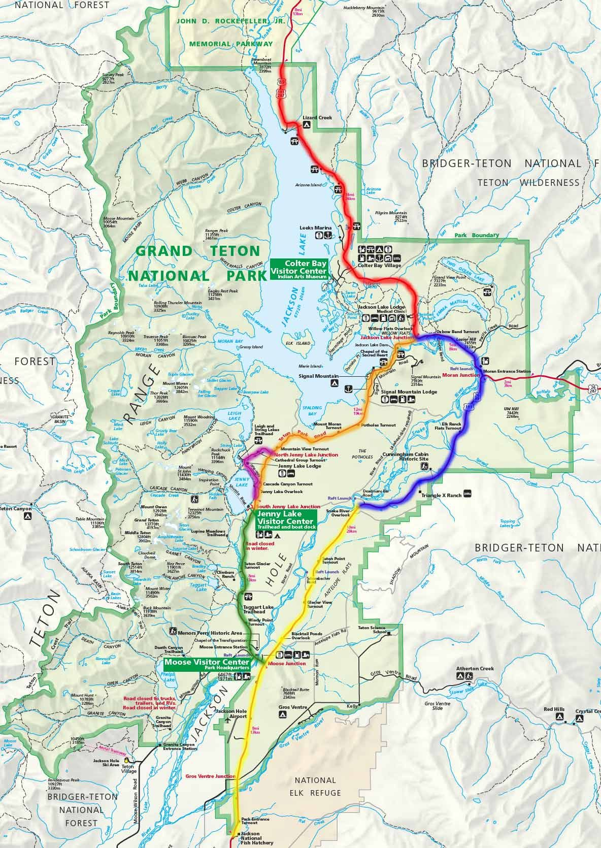 Grand Teton National Park Scenic Drives Locator Map Travel - Us highway 89 mile map