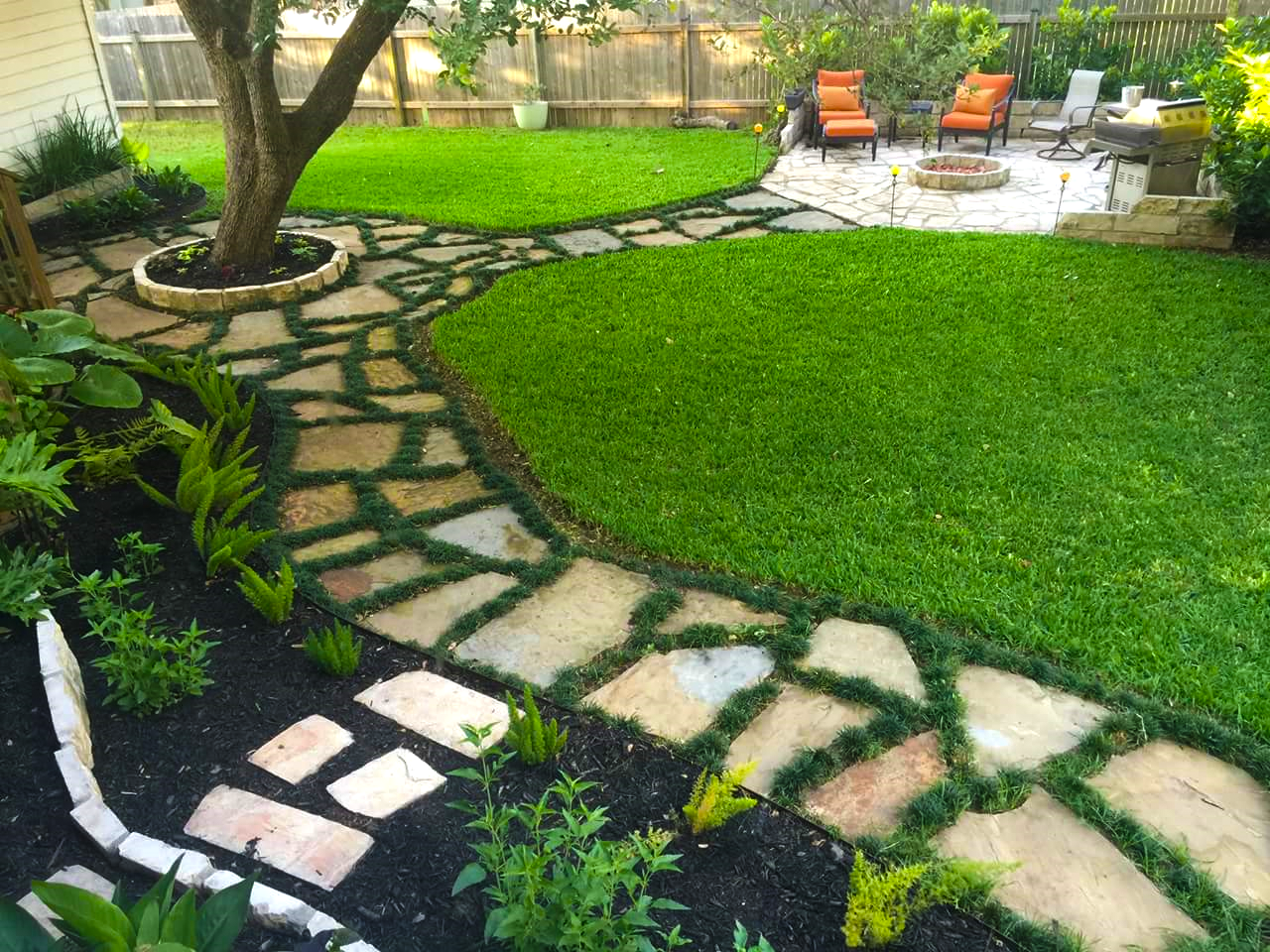 Backyard Pathways backyard landscape, flagstone walkway w/ dwarf mondo grass