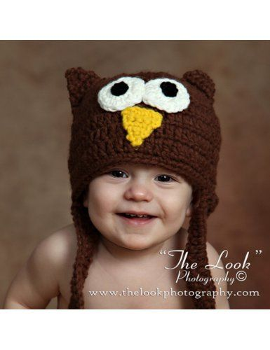 Amazon.com: Melondipity Lil' Guy Boys Crochet Owl Baby Hat - Handmade Brown Knit Animal Beanie with Ear Flaps and Braids - Sizes: 0-6, 6-12 and 12-24 - Newborn to Toddler: Baby