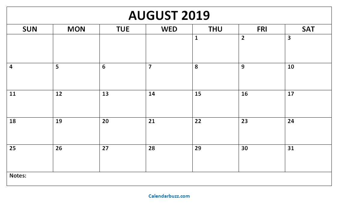 2019 Calendar Printable August - December august 2019 blank calendar printable | 2019 Calendars | Printable
