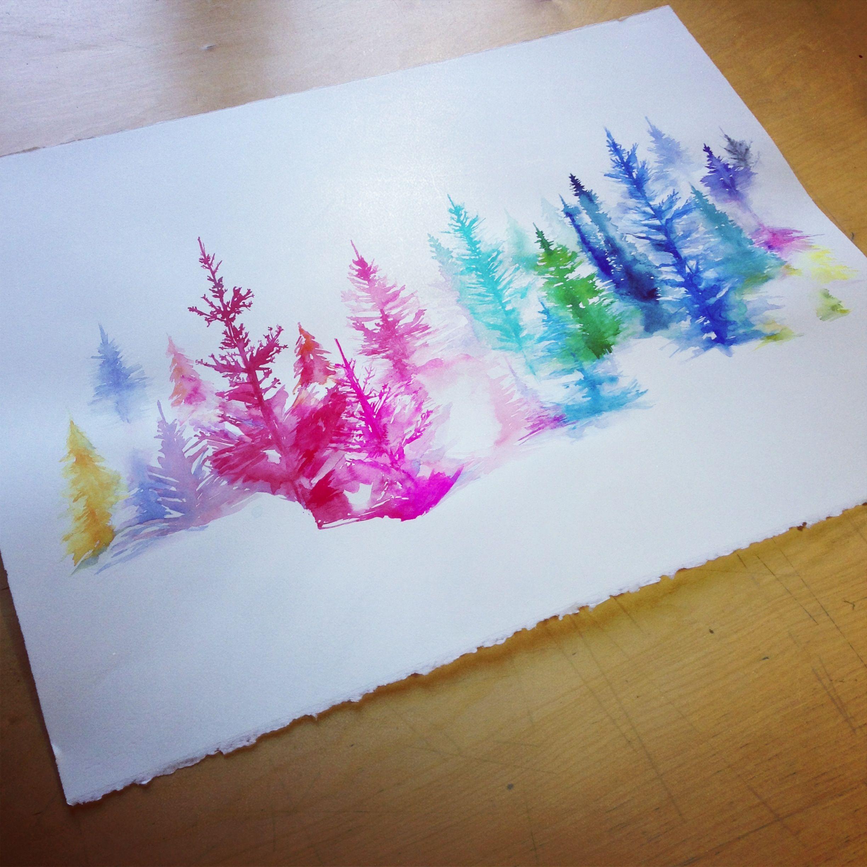 Watercolor Trees Tutoriels De Peinture Aquarelle Noel Mouton