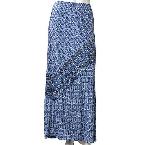 Skye's The Limit La Isla Bonita Long Skirt - I found this long blue skirt at Boscovs.  I like the asymnetrical detailing.  Elastic waist, a little bit of spandex and machine washable.
