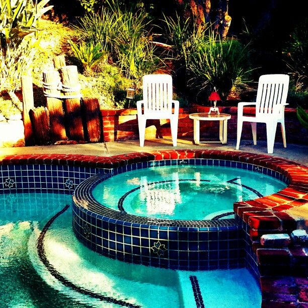 Southern California back yard... pool, jacuzzi, and a beautiful patio