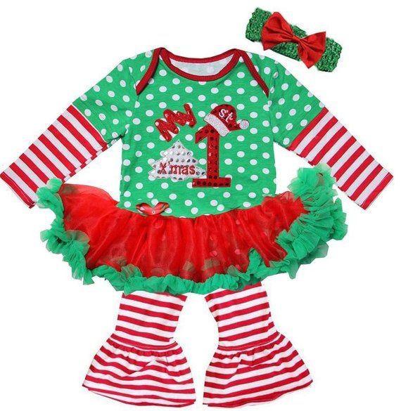Baby My 1st Chrismas Bling Green Polkadot With Tutu Pants Outfit Set