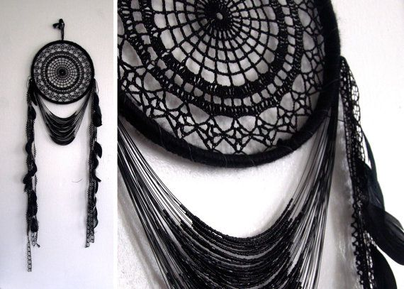 Black Doily Dreamcatcher with black beading and full length black feathers