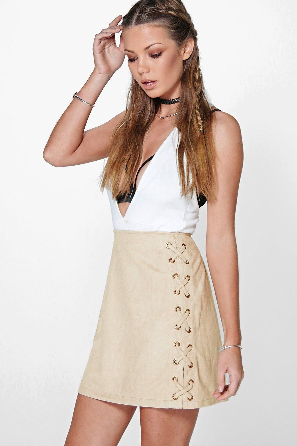 Suri Lace Up Side Faux Suede Skirt | Suede skirt, Boohoo and Mini ...