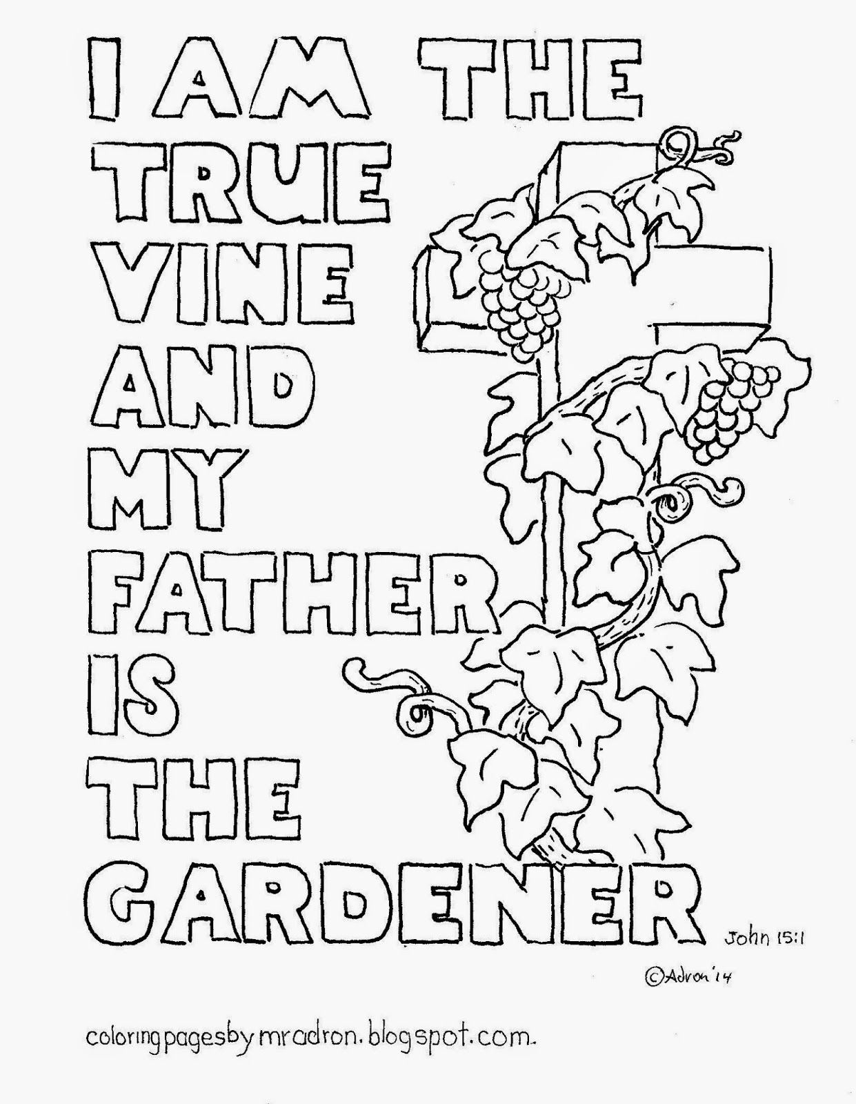 I Am The True Vine Coloring Page With Cross Free Bible Verse