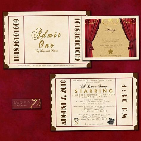 theatre ticket wedding invitation suite old hollywood wedding invites movie ticket invite set - Movie Ticket Wedding Invitations