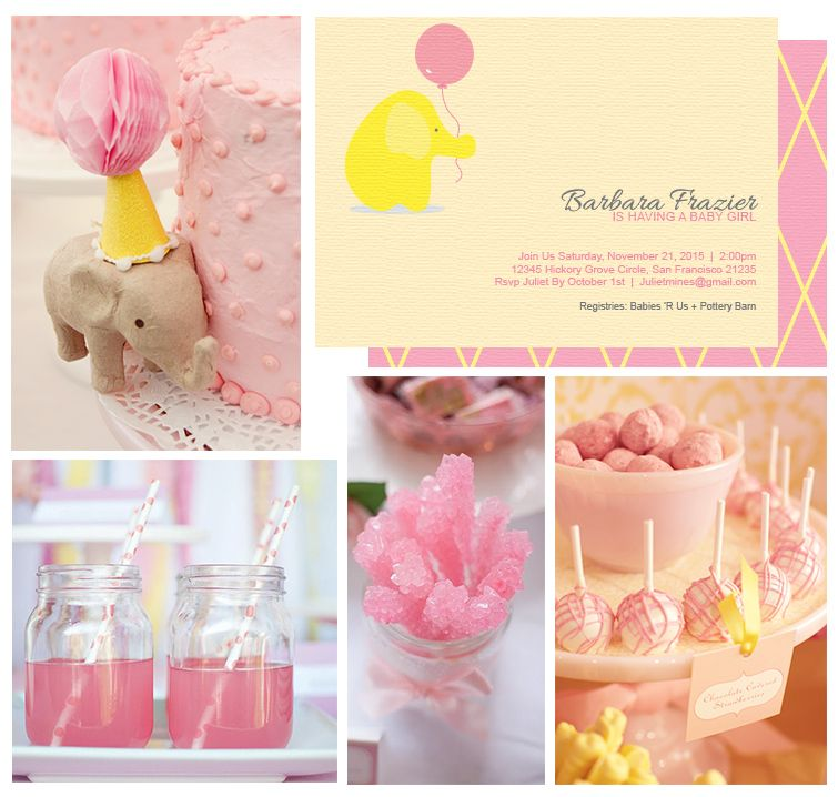 Baby Shower Yellow And Pink ~ Pink yellow baby elephant shower theme click to