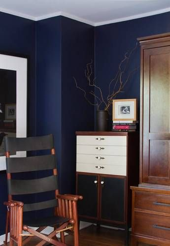Dark Blue And Dark Wood Rooms You Ll Love Domino Wall Paint Colors Home Dark Blue Walls
