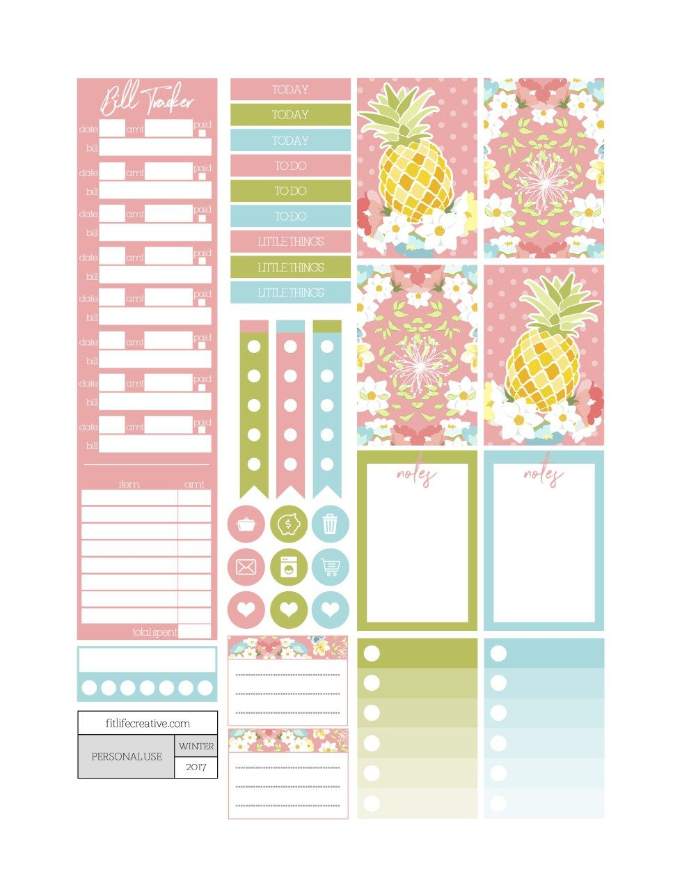 Pineapple Sunrise Planner Stickers - Fit Life Creative ...