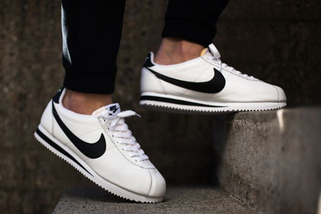 fast delivery nice shoes sneakers Nike Classic Cortez Leather White Black Women's Shoes ...