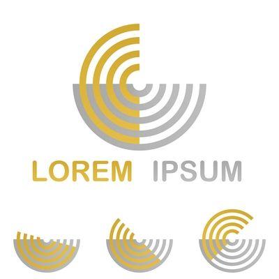 Golden Technology Symbol Icon Design Set From Half Circles Logo